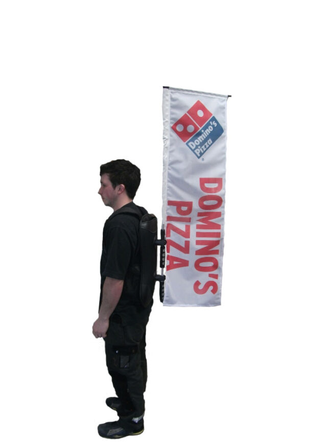 Backpack-Flag-Dominos - pizza advertising