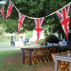British Bunting hung in garden