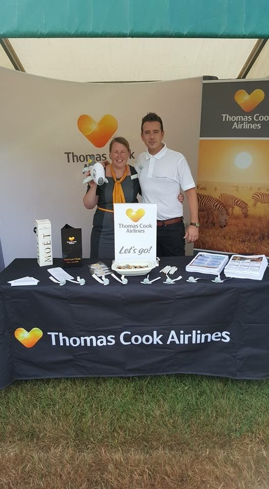 Promotional tablecloth for Thomas Cook