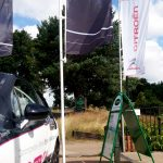 multiple Forecourt flags with while aluminium pole