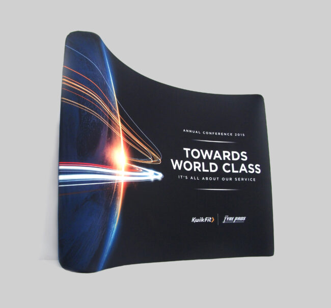 curved display stand - fabric
