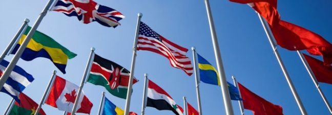 Various Fibreglass flagpoles and flags