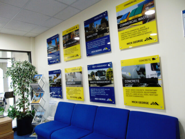 Internal promotional office acrylic signs - Mick George