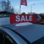 Sale Foamex board in forecourt