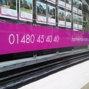 Window Graphics - Harvey Robinson branded window vinyl