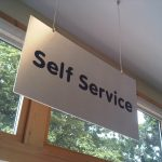 Self service printed hanging sign