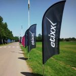 premium feather flags used on the tour of Cambridgeshire