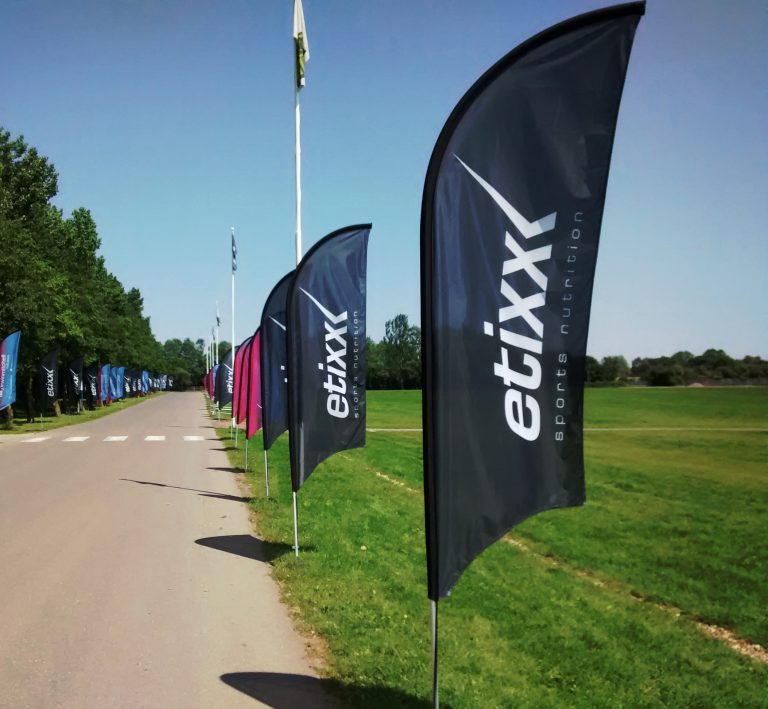 premium promotional feather flags used on the cycling tour of Cambridgeshire, UK