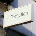 Reception projecting sign