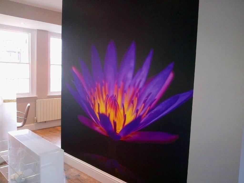 Purple flower digitally printed wallpaper